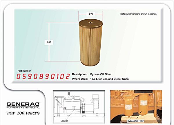 Generac generator oil by pass filter G0590890102
