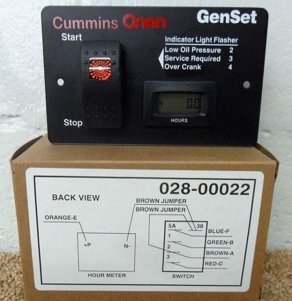 0288-00022 Onan Start stop switch, generator