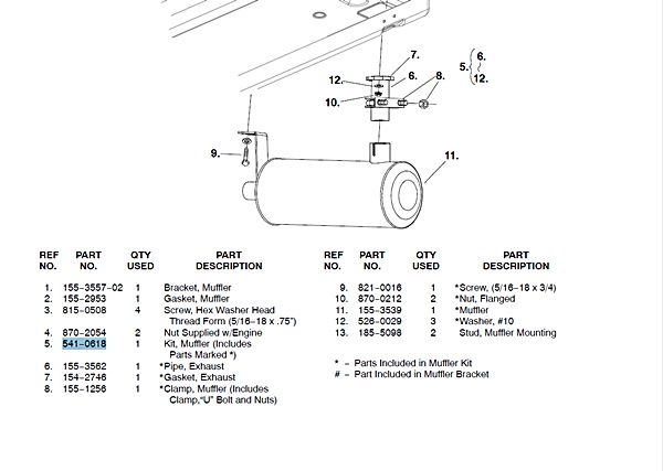 muffler kit onan 541-0618