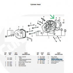 Onan P5350, P5350C, P5500, P5450E, P5450EC, P5550E,P6500 Generators Model series EGMBD, EGMBE Spec A-C Head Gasket