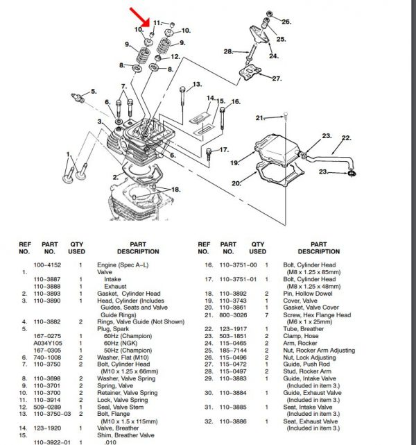Cummins onan RV QG 4000 generator valve keeper 110-3914