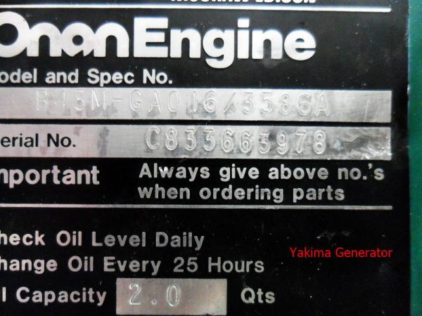 Data Plate for B43M Onan Engine Air Housing Right side