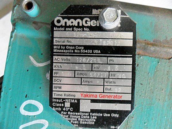 Information tag for Cummins Onan 6.5 NH Spec P Stator 220-1816