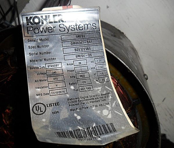 Kohler Power Systems 8RESV Tag