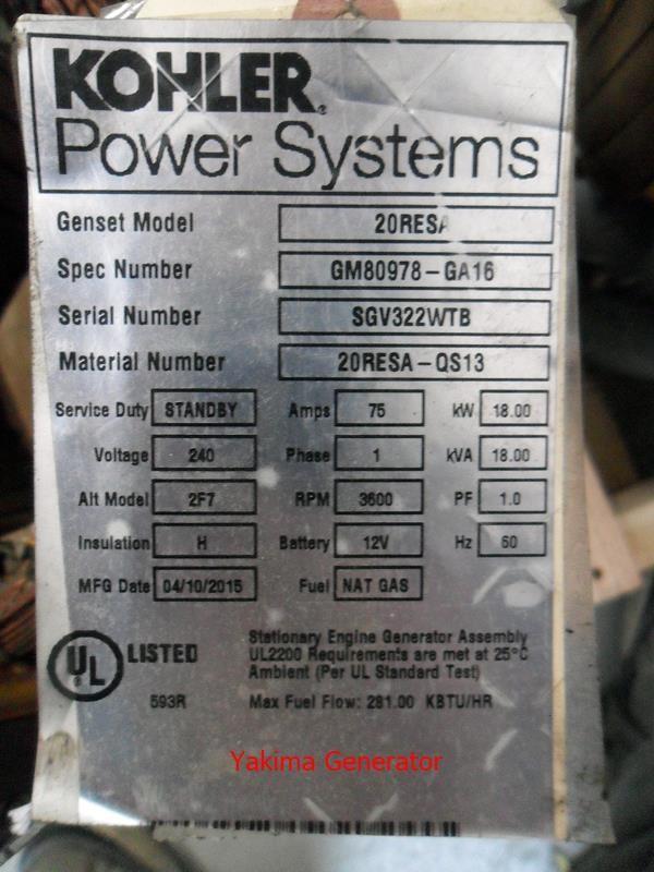Kohler Power Systems 20RESA Information Tag